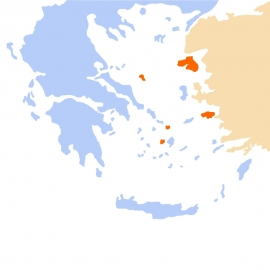 Naxos, Chios, Lesbos,Samos, Skitathos, Myconos, Paros